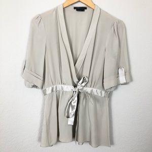 Bcbg MaxAzria Silk Wrap Tie Top sz M Light Gray